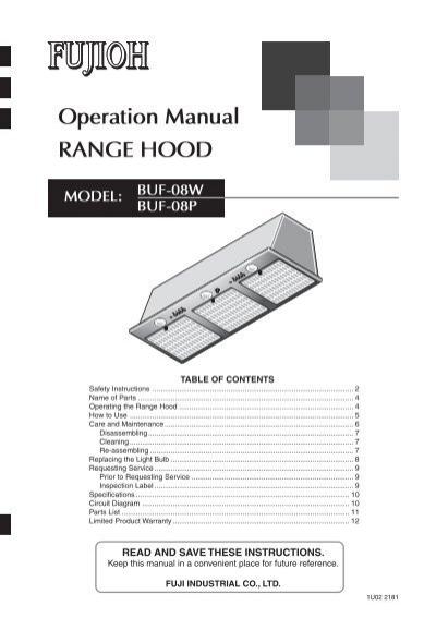 Operation Manual Range Hood Custom Service Hardware