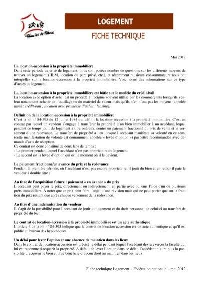Fiche Technique Logement Familles De France