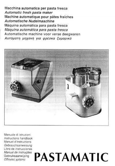 simac pastamatic 700 instruction manual
