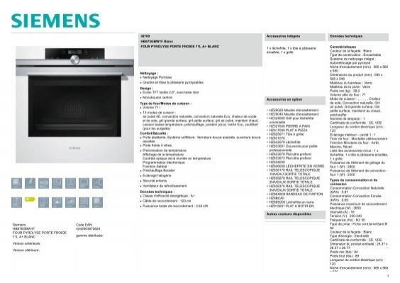 Siemens Four Encastrable Siemens Iq700 Hb675gbw1f Fiche Produit