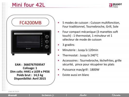 Brandt Mini Four Brandt Fc4200mb Fiche Produit