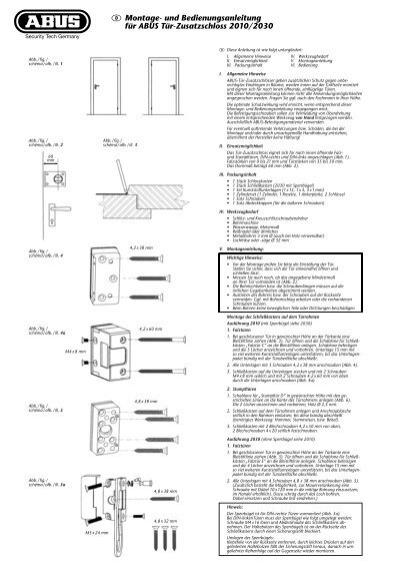 und bedienungsanleitung f r abus t r zusatzschloss 2010 2030. Black Bedroom Furniture Sets. Home Design Ideas
