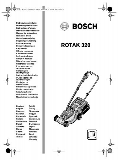 la notice de la tondeuse bosch rotak 320 plantes et jardins. Black Bedroom Furniture Sets. Home Design Ideas