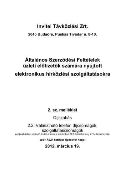 Invitel Távközlési Zrt. Általános Szerződési Feltételek üzleti előfizetők 2f87fc4a90
