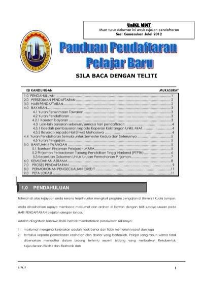 Unikl Miat Panduan Pendaftaran Unikl Admission Universiti