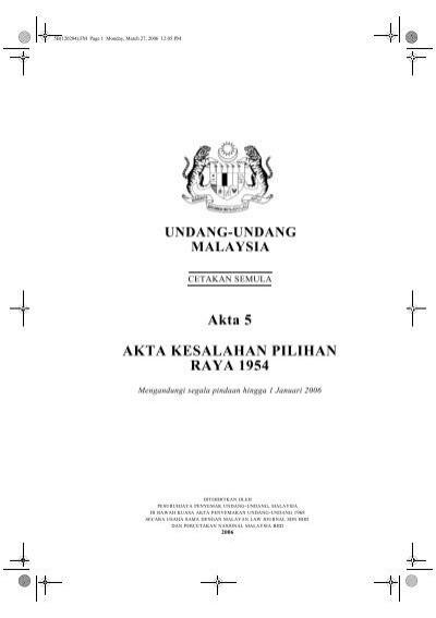 Akta 5 Akta Kesalahan Pilihan Raya 1954