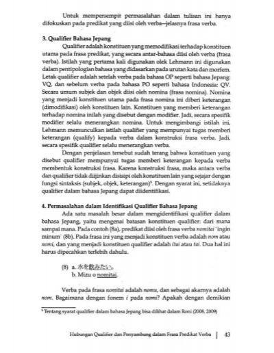 Hubungan Qualifier Dan Penyambung Dalam Frasa Predikat Verba