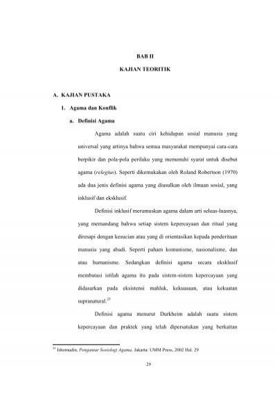 Bab Ii Kajian Teoritik A Kajian Pustaka 1 Agama Dan
