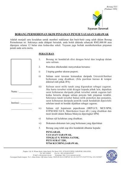 Borang Ys 3 Yayasan Sarawak