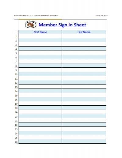 sign in sheet member
