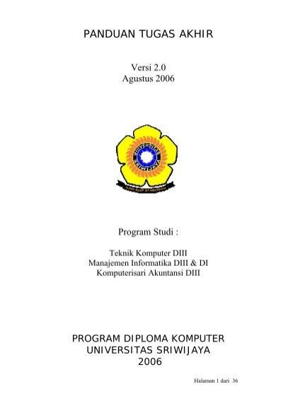 Pedoman Tugas Akhir Universitas Sriwijaya