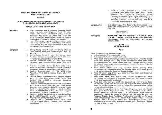 Peraturan Rektor Universitas Gadjah Mada Arsip Ugm