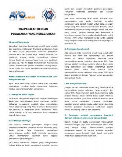 Waspada Dengan Penawaran Yang Menggiurkan Bank Indonesia