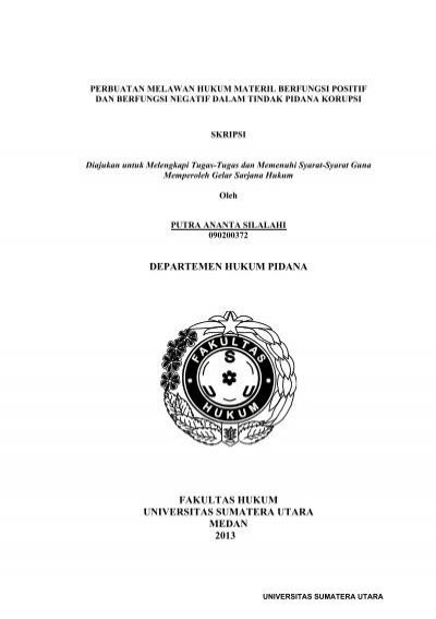 Departemen Hukum Pidana Fakultas Hukum Universitas Sumatera