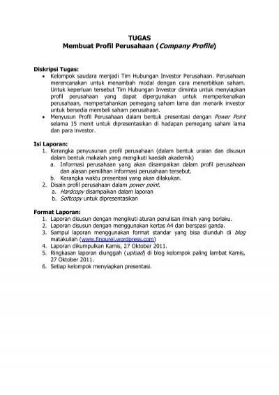Contoh Makalah Company Profile Perusahaan