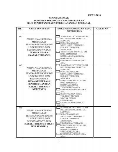 Senarai Semak Tuntutan Perjalanan