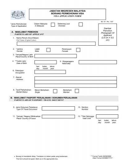 Abatan Imigresen Mala Sia Borang Permo Onan Travel Document