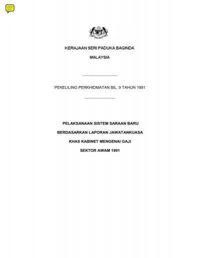 Pekeliling Perkhidmatan Bil 9 Tahun 1991 Kpwkm