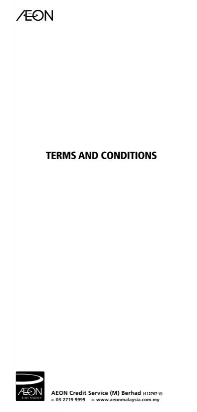 Terms And Conditions Aeon Credit Service