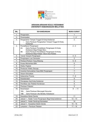 Arahan Arahan Kolej Kediaman Universiti Kebangsaan Malaysia Ukm