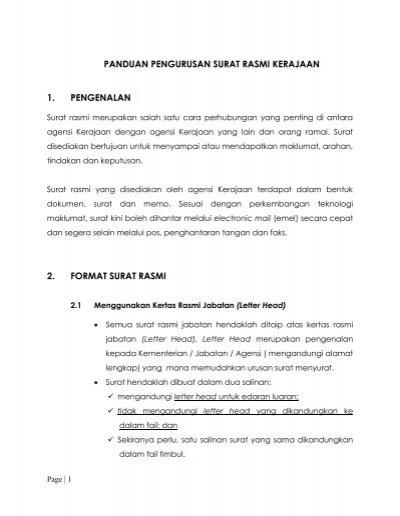 Manual Pengurusan Surat Rasmi Jabatan Perdana Menteri