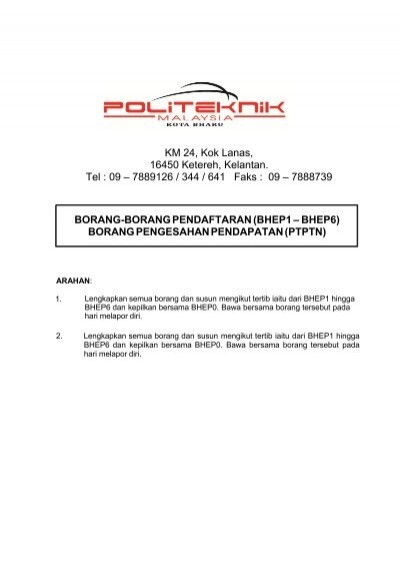 Borang Borang Pendaftaran Spmp Politeknik Kota Bharu