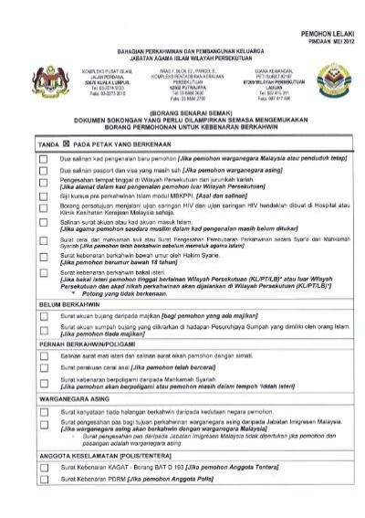 Senarai Semak Jabatan Agama Islam Wilayah Persekutuan