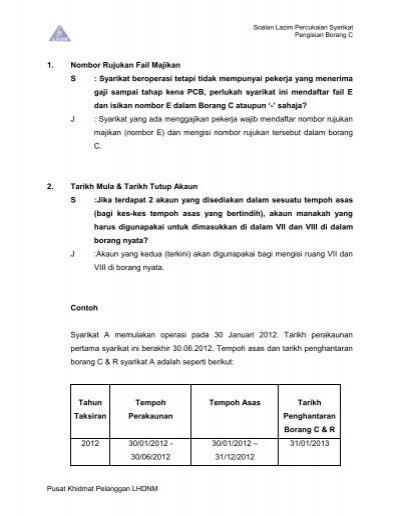 Pengisian Borang C Lembaga Hasil Dalam Negeri