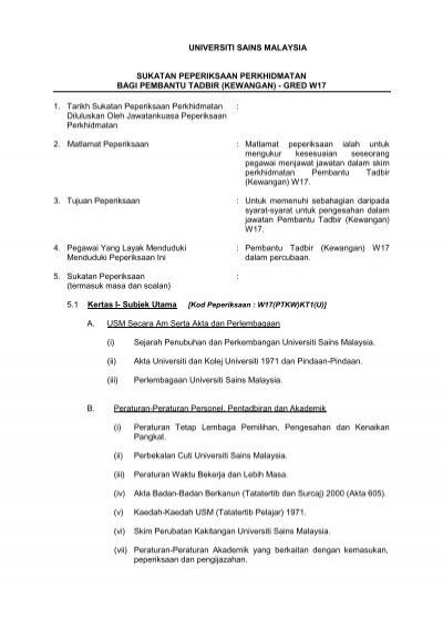 Pembantu Tadbir Kewangan W17 Jabatan Pendaftar Usm