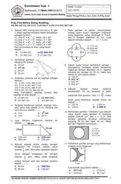 Soal Dan Kunci Soal Pengayaan 1 Uas Matematika Smp 2013