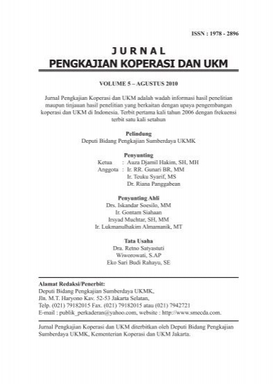 Jurnal Pengkajian Koperasi Dan Ukm Smecda