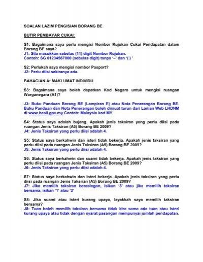 Soalan Lazim Pengisian Borang Be Butir Pembayar Cukai