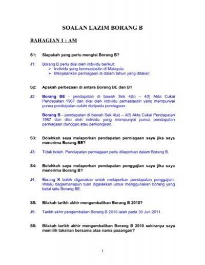 Soalan Lazim Borang B Lembaga Hasil Dalam Negeri