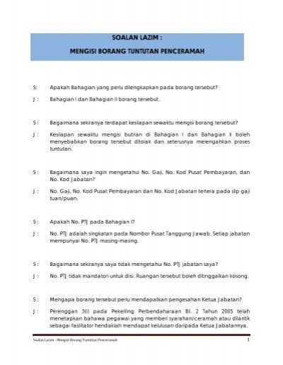 Soalan Lazim Mengisi Borang Tuntutan Penceramah