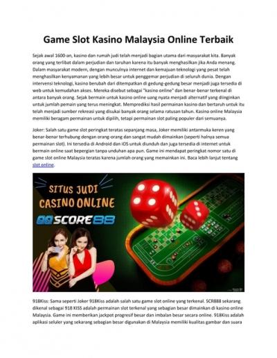 Game Slot Kasino Malaysia Online Terbaik