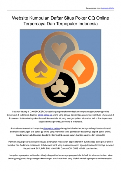 Website Kumpulan Daftar Situs Poker Qq Online Terpercaya