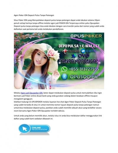 Agen Poker Idn Deposit Pulsa Tanpa Potongan