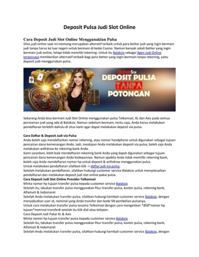 Deposit Pulsa Judi Slot Online Balaksix Dikonversi