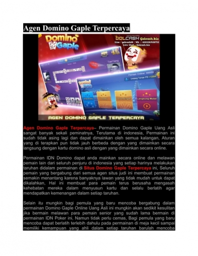 Agen Domino Gaple Terpercaya Golcash Biz