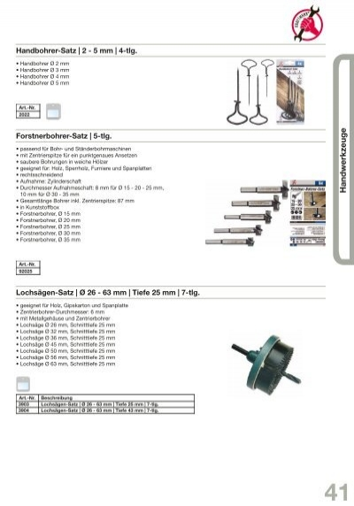 Sägen-Ø 60-67-74 mm für Holz 3-tlg Kraftmann 50300 Lochsäge-Set Spanplattem