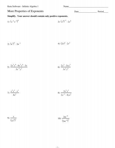 Exponents Worksheets Kuta: More Properties Of Exponents Worksheet   Delibertad,