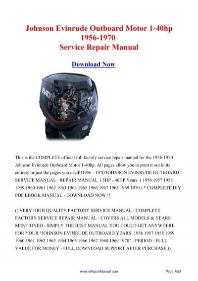 Johnson Evinrude Outboard Motor 1-40hp 1956     - Repair manual