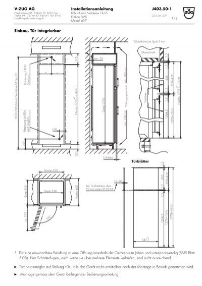 installationsanleitung v zug ag 1 einbau t r integrierbar. Black Bedroom Furniture Sets. Home Design Ideas