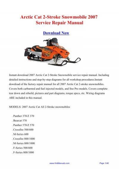 [ANLQ_8698]  Arctic Cat 2-Stroke Snowmobile 2007 Service Repair Manual | Arctic Cat Snowmobile 4 Stroke Wiring Diagrams |  | Yumpu
