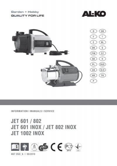 JET 601 / 802 JET 601 INOX / JET 802 INOX JET ... - AL-KO Kober AG