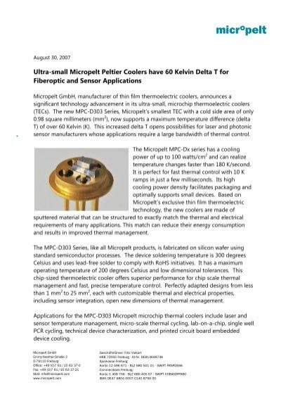 Ultra-small Peltier Coolers have 60 Kelvin Delta T