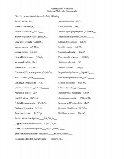 Answers to nomenclature practice