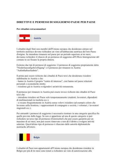 DIRETTIVE E PERMESSI DI SOGGIORNO PAESE ... - ITES Mercosur