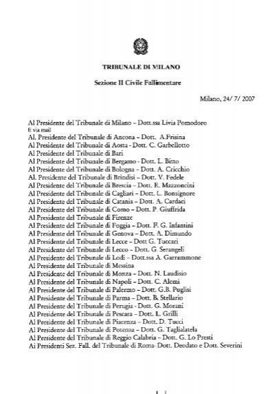 Il Prospetto Delle Somme Disponibili Tribunale Di Milano