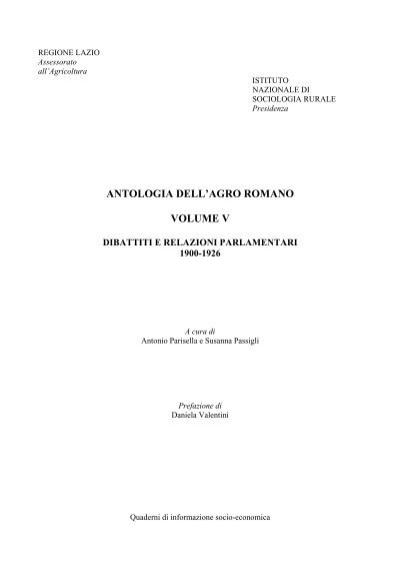 Antologia dell'Agro Romano volume V dibattiti e ... - Regione Lazio